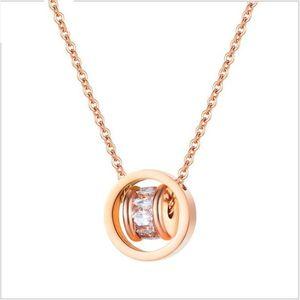 Top quality women's 316L stainless steel CZ rose gold necklaces stainless steel chokers necklace stainless steel jewelry GJ1642