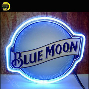 NEON SIGN For BLUE MOON Signage REAL GLASS BEER BAR PUB Club display Restaurant Signboard Shop Light Signs 17*14