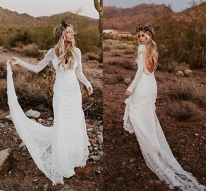 2020 Full Lace Bohemian Country Beach Wedding Dresses Long Sleeve V Neck Sheath Bridal Gown Sweep Train Backless Vestidos De Novia