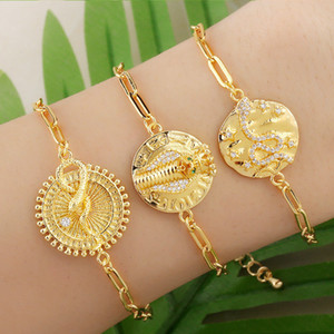 Gold Chain Snake Bracelets For Women Crystal Round White Stone Charm Bracelet CZ Zirconia Statement Jewelry Gifts