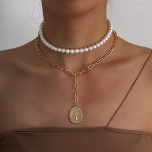 UDDEIN New Fashion Double Layer Simulated Pearl Choker Necklace Trendy Chunky Chain Metal Pendant Necklace For Women Jewelry1