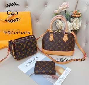 2021 nuevos calientes de la venta señoras del bolso 3pcs / Set Bolsa de moda de gama alta del hombro bolsa de cuero bolsa de embrague Monedero envío 40156-150