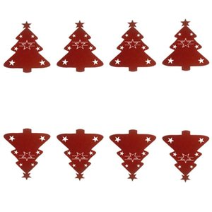 8pcs Christmas Tree Cutlery Cover Knife and Fork Bags Christmas Tableware Pouch Holder Cutlery Bags for (Red)