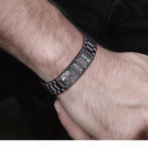 20MM WIDTH MEN BRACELET IN BLACK PERSONALIZED CUSTOM ID TAG STAINLESS STEEL WATCHBAND BRACELETS TO BOYS SON, INSPIRATIONAL BIRT Y200810