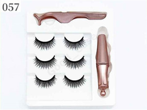 3 Pairs Magnetic Eyelashes False Lashes +Liquid Eyeliner +Tweezer Eye makeup set 3D Magnet False Eyelashes Natural Reusable F101907