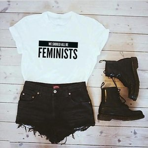 Hipster Vrouwen T Shirt Korte Mouw O Neck Feminists Brief Print T shirt Plus Size Casual Tops Tees Camisetas Mujer