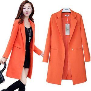 2020 Women Blazers Jackets Korean Spring Autumn Solid Long Blazer & Suits Female Casual Tops Plus size 3XL Ladies Office Coat