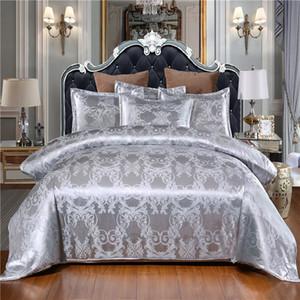 Couleur blanche Linge de lit Satin Satin Couette de luxe Set de couverture de luxe Jacquard Ropa de Cama Literie King Size Set de lit de luxe Queen Lit Set 201102