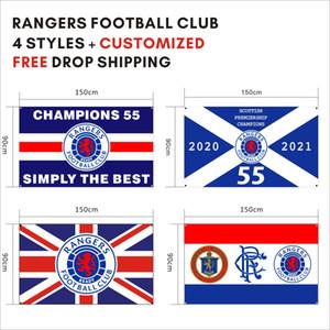 Envío gratis de la caída de la bandera personalizada 3x5ft / 90x150cm Rangers Football Club FC campeones leales 55 banner de banner para decoración deportiva al aire libre