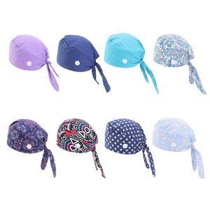 Working Scrub Cap Button Sweatband Star Paisley Floral Tie Back Bouffant Hat Q0KE