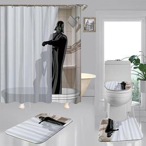 Cartoon divertente Alien Shower Curtain Set 4 pezzi Carpet WC coprire copertina Bath Mat Pad 5 modello impermeabile Bagno Decor 3 Dimensioni bbyxOA