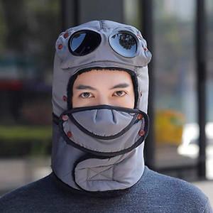 Invernali Cappelli Trapper con occhiali Uomo Donna Inverno caldo Trapper Trooper Cap Earflap Outdoor Sport Sci Cappello IIA800