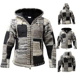 Men's Sweater Coat 2020 Spring Autumn Mens Hooded Stripe Coat Thick Zipper Wool Sweater Cardigan Jumpers Male Color Tops