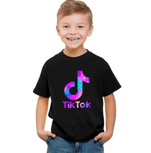 new Letter Print TIK TOK round collar short sleeve Tshirt boy clothing shirt and t shirt black