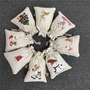 러닝 크리스마스 산타 가방 순 록 눈사람 Xmas 스타킹 인쇄 캔버스 산트 자루 크리스마스 캔디 선물 가방 DWE2697