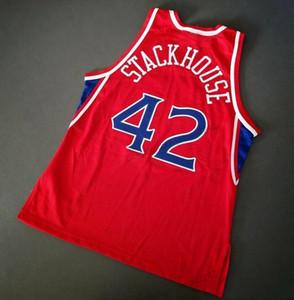 Дешевый заказ ретро 42 Стэкхауз Champion College Basketball Джерси Мужчина прошитая Красного Любой Размер 2XS-4XL 5XL Имя или номер Бесплатная доставка