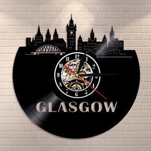 Glasgow Minimalist Wall Art Wall Clock Home Decor Glasgow Skyline Vinyl Record Clock Scotland Travel Vintage Gift Modern Clock