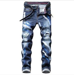 Мужские полосой джинсы для джинсов из камня Slim Blue черный мужской цветочные джинсовые штаны повседневная уличная одежда разорванная краска прохладная одежда
