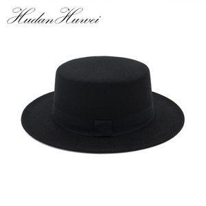 Black Wide Brim Woolen Fedora for Women Plain Flat Lady Felt Hats Vintage European US Trilby Bowler hat