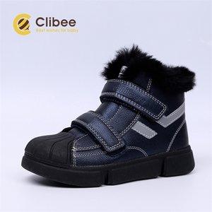 Clibee Erkek Kız Sıcak Kış Kar Botları ile Güvenli Toe-Cap Çocuklar Düz Konfor Orta Buzağı Çizmeler Kanca Döngü ve Yün Kürk Linning LJ201201