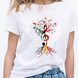 Musical Note Tree Graphic T shirts Vetement Femme 2021 Summer Shirt Korean Style Fashion Women New Arrivals Harajuku Design Tee