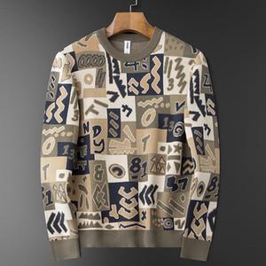 Осень и зима густой теплый жаккардовый узор ремесло круглый шеи свитер мужской тонкий корейский стиль модный теплый мужской свитер