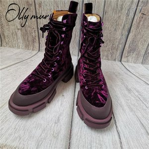 OllyMurs New Fashion Black Women Boots Round Toe Lace Up Thick Mid Heel Women Autumn Winter Motorcycle Boots Shoes Woman1