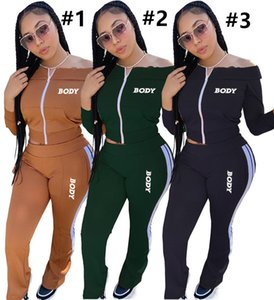 Frauen Kleidung Körper Buchstaben aus Schulter Langarm Reißverschluss Jacke Hosen Stickerei Zwei Teile Outfits Sportanzüge 3 Farben D102805