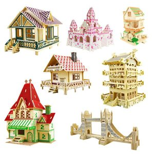 Wooden Doll House Puzzle Model Building Kit 3D Constructor Designer DIY Miniature Dollhouse Simulation House Model Toy for Kids