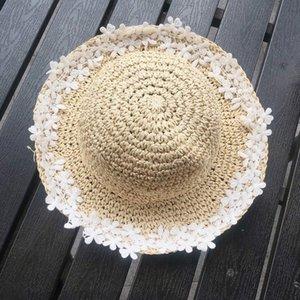 Cappello dei bambini Menoea 2020 Estate New Femminile Baby Flowers del cappello di paglia della ragazza piccola dolce Pescatore Sun Grasso protezione solare Sun marea GEVO #