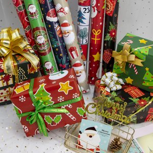 Christmas Wrapping Paper Green Decoration Craft Paper Gift Wrap Decorative Xmas Party Packing Package Paper Gift RRA3699