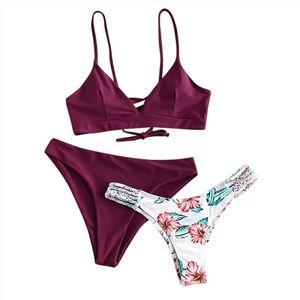 Swimwear Women Push Up Bikinis 2020 Mujer Womens Bikini Print Set Swimsuit Three Piece Filled Bra Swimwear Beachwear g3