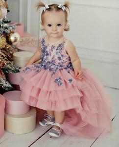 2020 Lace Beaded Hi-Lo Flower Girl Dresses Sheer Neck Little Girl Wedding Dresses Cheap Communion Pageant Dresses Gowns ZJ613