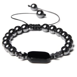 8mm Natural Hematite Lava Stone Beads Bracelet Hot Fashion Black Anchor Adjustable Men Bracelet Yoga Healing Balance Bracelets