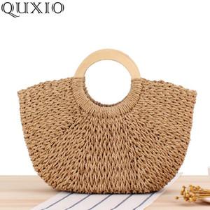 2020 New Fashion Circular Straw Handbags Women Summer Beach Bag Lady Rattan Bag Wooden Handle Woven Tote Bags for Female ZCY13
