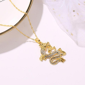 Gold Dragon Rhinestones Pendant Necklace For Women Fashion Sweater Chain Necklace Ladies charm Jewelry