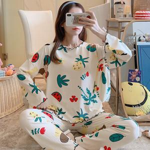 WAVMIT manica Pajamas Set Poliestere Leisure Suit 3Pcs da notte per le donne Sleepwear Pantalone lungo il sacchetto del panno