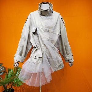 2020 retro mesh stitching handsome high waist loose loose slim trench coat 0228