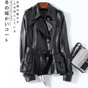 Nerazzurri Black spring leather trench coat women belt long sleeve double breasted womens high fashion Leather jacket women 201030