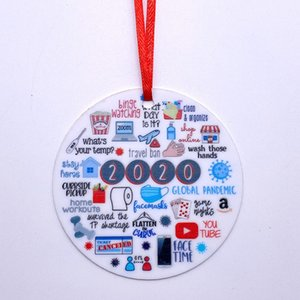2020 Quarantine Christmas Party Decoration Gift Personalized Xmas Tree Ornament All Series Circle Christmas Tree Ornament