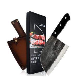 XYJ Full Tang Beetcher нож сербский шеф-повар ручной работы кованый кухочный шеф-повар нож Высокое углеродное клапан стали мясник Cleaver с кожаным ножом AS0JG