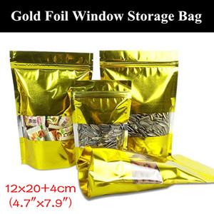 """50pcs 12x20 + 4 centimetri (4,7 """"x7.9"""") 160micron oro lucido alluminatura Finestra Ziplock Bag A prova di umidità Auto-sigillati Packaging Bag"""