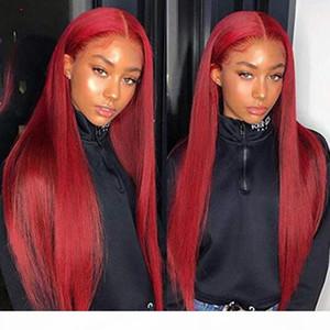 Pelucas de pelo humano del frente de encaje rojo rojo Peluca de cabello humano 99J Encarga de encaje Peluca frontal Preparada Pelucas de pelo humano de encaje