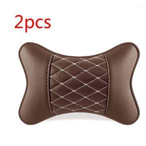 2pcs Artificial Leather Car Pillow Protection Neck Car Headrest Comfortable 270E1