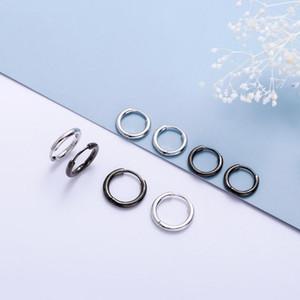 100% Mens 925 Sterling Silver Black Small Huggie Hoops Piercing Earrings Trendy Hip Hop Round Circle Ear Rings for Women1