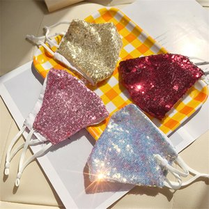 New sequin hanging ear mask female spring and summer outdoor sunscreen adjustable pink mask free shipping