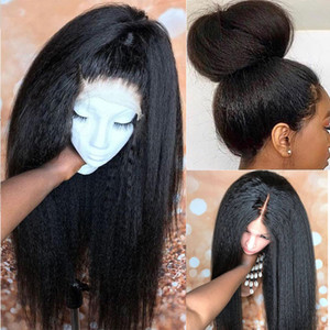 Glueless Lace Front Synthetic Hair Wigs Black Kinky Straight Wig Glueless Lace Wig Heat Resistant Full Wig for Women 24inch