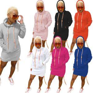 7 colori S-2XL donne del ginocchio Gonna casual con cappuccio Un passo abito a manica lunga maglione Pocket Abiti Bodycon