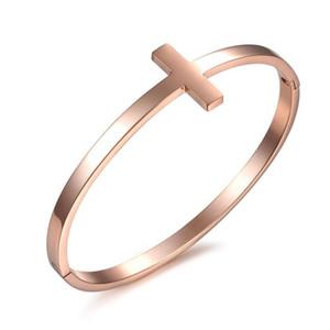 Fashion luxury designer simple elegant cross rose gold titanium steel bangle bracelet for woman girls 17 cm