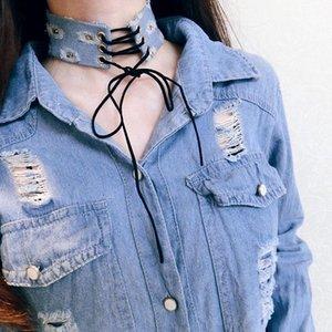 40mm Weit Blaue Denim-Fliege Halskette Krawatte für Frauen Quaste Jeans Tätowierung Chokers Collier ras de cou colar Bijoux femme